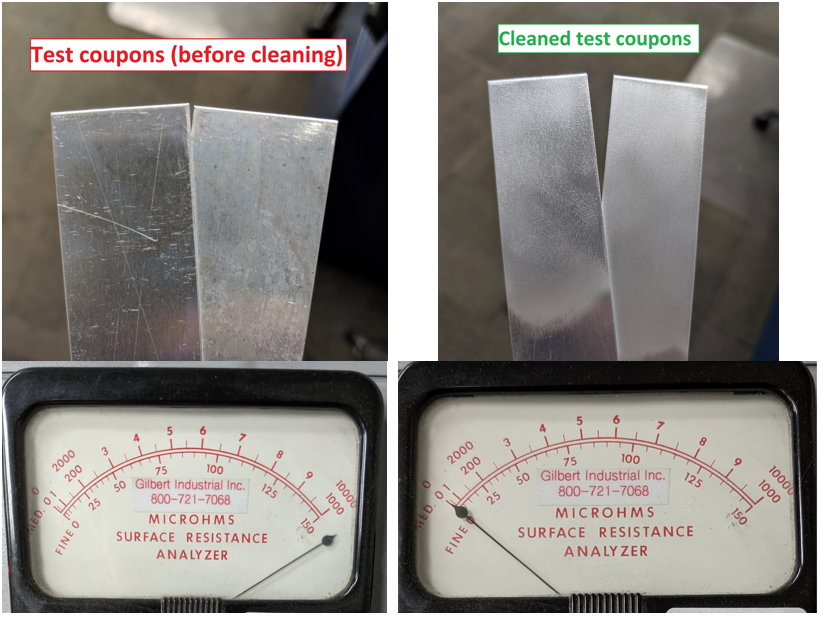 Uncleaned vs Cleaned test coupons