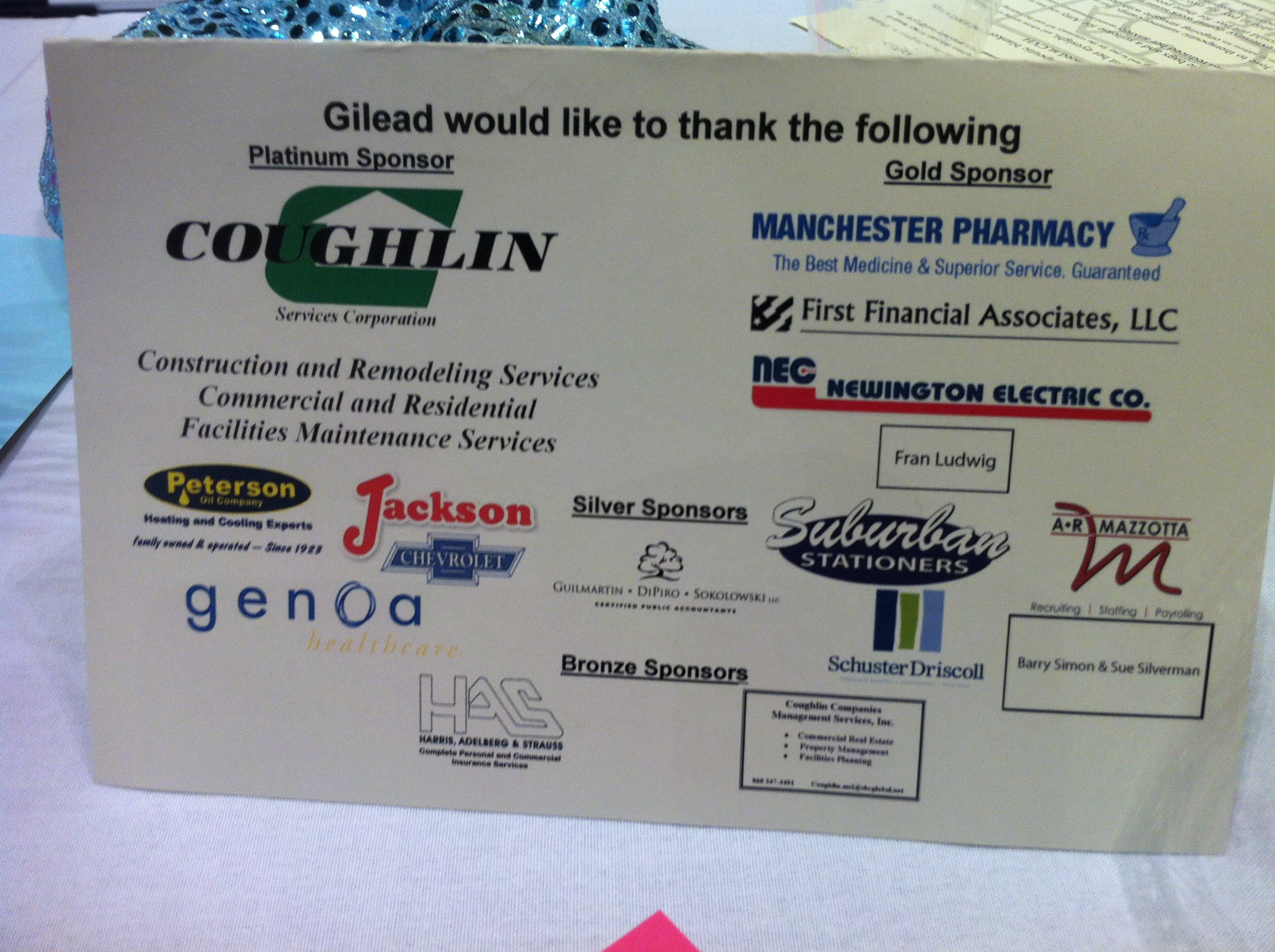 Coughlin Service Corp of Middletown CT becomes Gold Sponsor of Gilead Community Services 2012 Quizine for a Cause