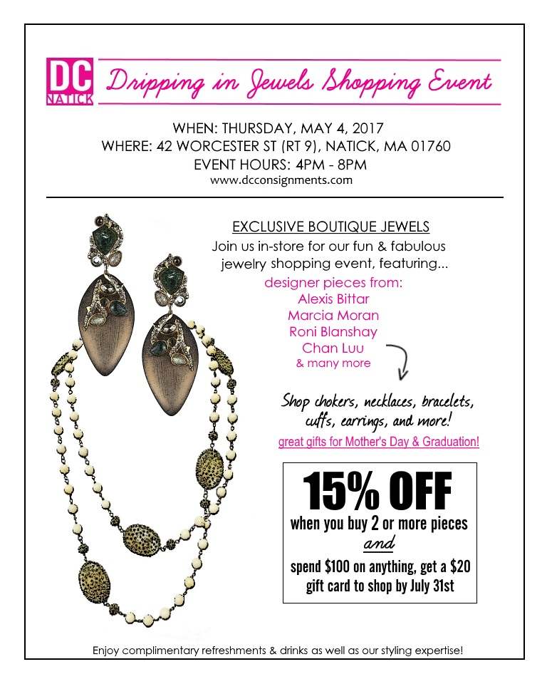 Specials dripping in jewels shopping event may 4th for Jewelry stores in worcester massachusetts