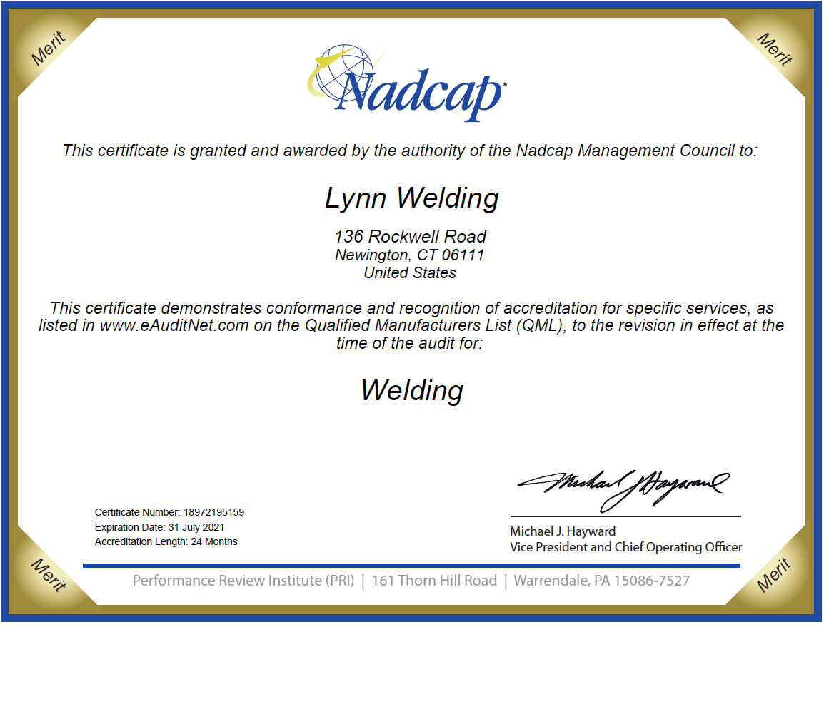 NADCAP APPROVED WELDING 136