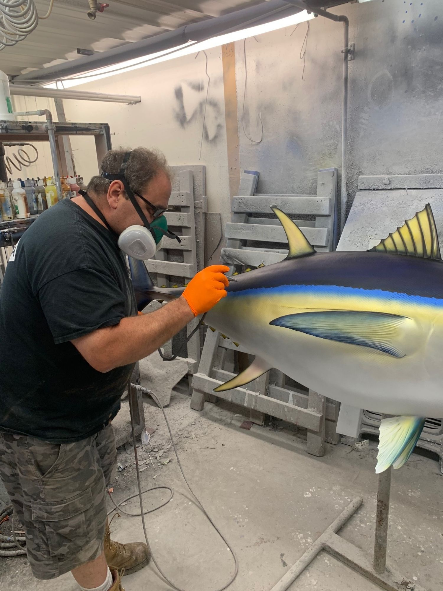 Joe Painting a Yellowfin Tuna Replica Mount